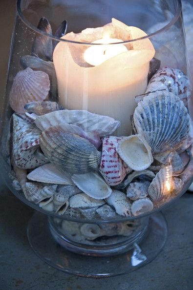 Shells and a pillar candle.....