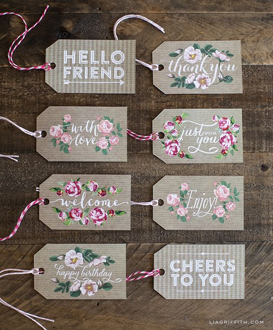 DIY - Spring Gift Tags in Kraft Paper and Vintage Roses Free PDF Printables via Lia Griffith