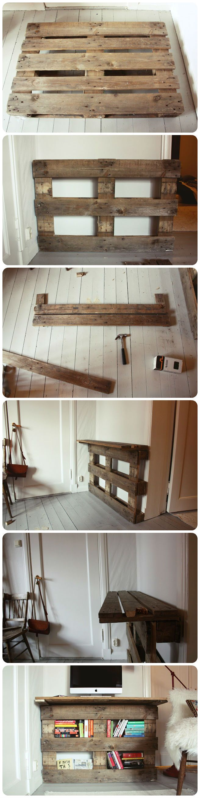 Pallet desk DIY tutorial I would put legs at the bottom and a henged top to fold out to make it twice as wide if wanted
