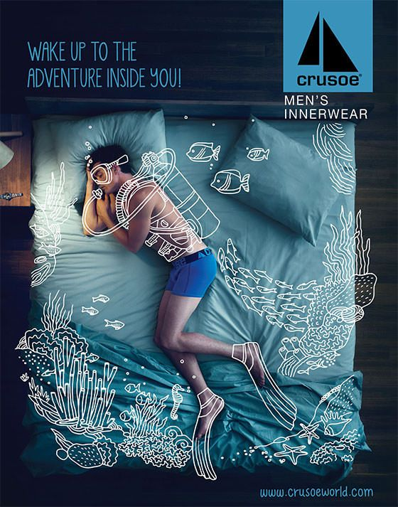 Crusoe Men's Innerwear Campaign ベッドに眠る男性にイラストを加え、まるで海の中を泳いでいるように表現した、男性用下着の広告。