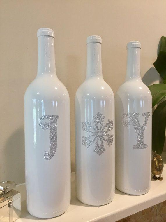 Christmas Decorations, Glitter Joy Wine Bottles.