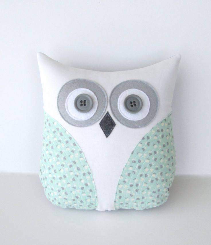 owl pillow, pastel sea foam green, mint green grey nursery decor, spring home decor, kids plush owl, Easter gift by whimsysweetwhimsy. $35.00, via Etsy.