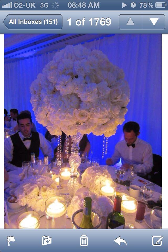 Glamorous Crystals, abundance of white hydrangeas & white roses.