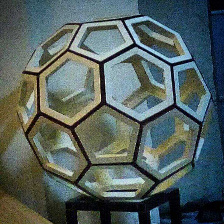 """FROM PAPER TO WOOD  Polyhedron # 10 - TRUNCATED ICOSAHEDRON Designed by Leo R. Natividad for Lights & Folds Hamdicraft Fabricated by Allan Aguinaldo  Using 3/4""""×3/4""""×4.5"""" Softwood 12 Pentagons 20 Hexagons  32 Surfaces  60 Apexes  90 Edges  Circumference - 66"""" (167.64 cm) Diameter - 21"""" (53.34 cm)  Php - 6,883.75  #from_paper_to_wood #only_in_the_world #origamipilipinas #lights_and_folds_handicraft #only_in_the_Philippines #origami_inspired_wooden_polyhedron"""