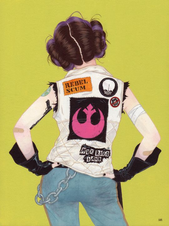 """""""Rebel"""" Acrylic and gouache on Rives BFK mounted on wood panel 9″ x 12″ Here's my piece inspired by Princess Leia for Gallery 1988's Star Wars: Art Awakens gallery show and charity auction, a..."""