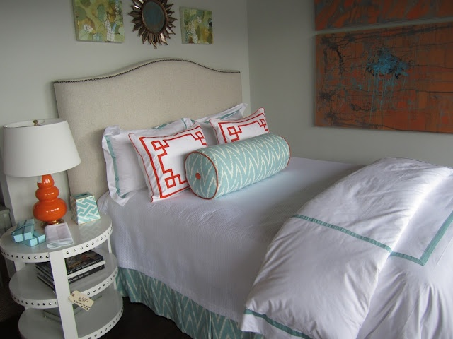 Mint and orangeGuest Bedrooms, Girls Room, Mcbabi Room, Guest Rooms, Coral Touch, Teddy'S Room