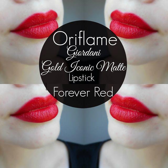 Oriflame - Giordani Gold Iconic Matte Lipstick - Forever Red  matte Oriflame ruž
