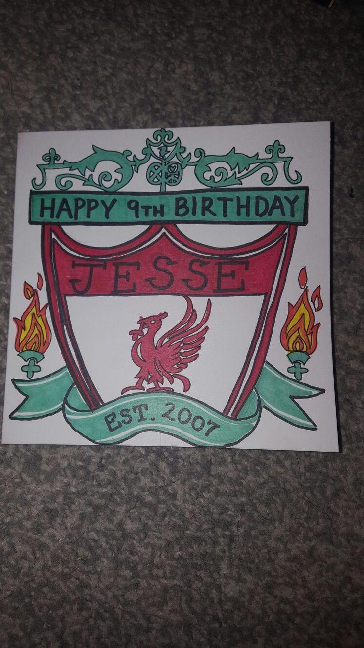 Liverpool FC hand drawn birthday card