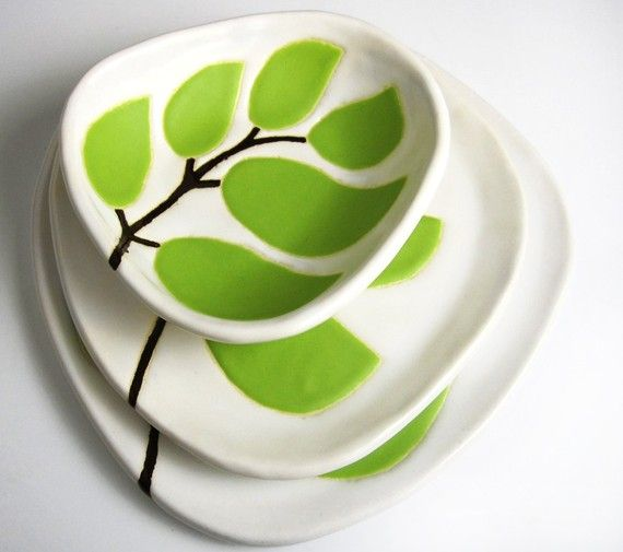 Set of 3 ceramic dishes - leaves in chartreuse green - ceramic and pottery from hopejohnson on Etsy. Lovely.