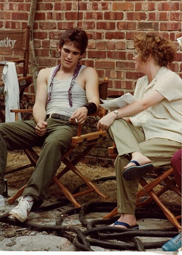 Matt Dillon and S.E. Hinton on the set of Rumble Fish. gah, two of my favorite people in one picture.