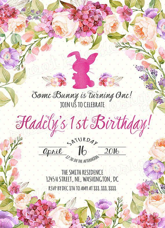 Invito di compleanno coniglietto / / di SweetBeeDesignShoppe