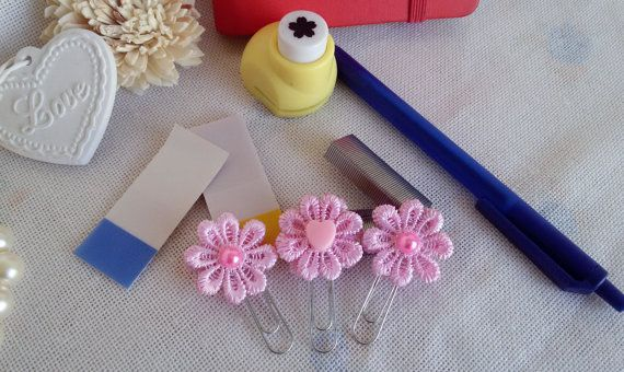 3 Pink planner clips pink bookmarks  flowers by Rocreanique on Etsy