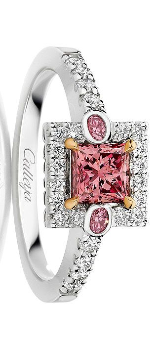 'The Arabella 0.66 Argyle Pink Princess Cut Diamond' - A stunning and extremely rare 0.66ct Argyle Pink Princess Cut Diamond paired with two Oval Argyle Pink Diamonds, surrounded by White Diamonds. This archive design is proudly being worn by its new owner.