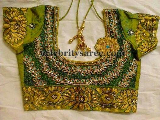 Floral Work Blouse with Stones | Saree Blouse Patterns