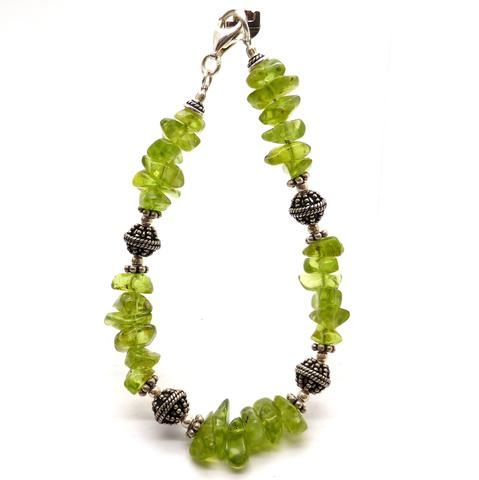 Bracelet Peridot Freeform Antique silver beads