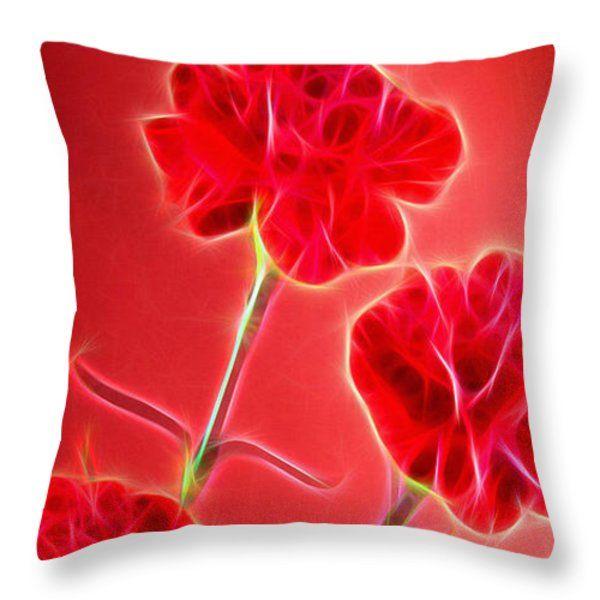 Digital Arts Abstract Flowers Throw Pillow #art #flowers