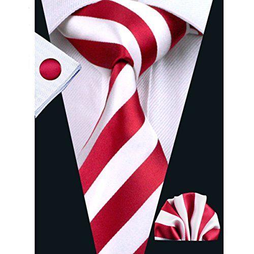 Hi-Tie Mens Striped Tie Set Silk Classic