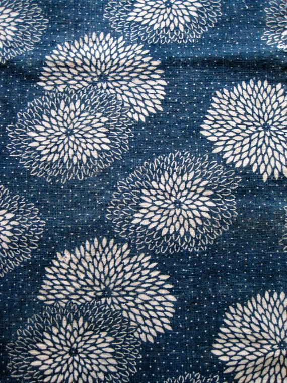 Antique Japanese cotton indigo dyed katazome fabric by luckyredbat