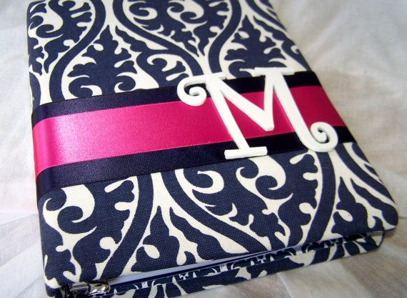 Love Love Love This Bridal Shower Guest Book - Navy Blue and Hot Pink. Custom Colors Available on Etsy