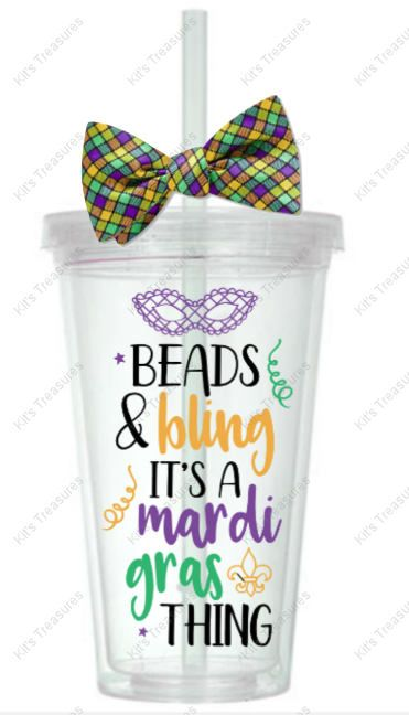 Beads & Bling - Mardi Gras Tumbler - Customized 16oz Tumbler - Gender Reveal Party - Personalized gift for her - Personalized vinyl tumbler by DJsPersonalizedHut on Etsy