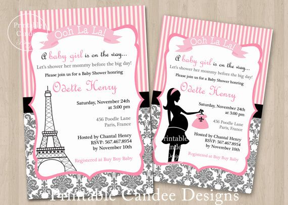 Paris French Baby Shower Invitation - Custom Printable on Etsy, $10.00