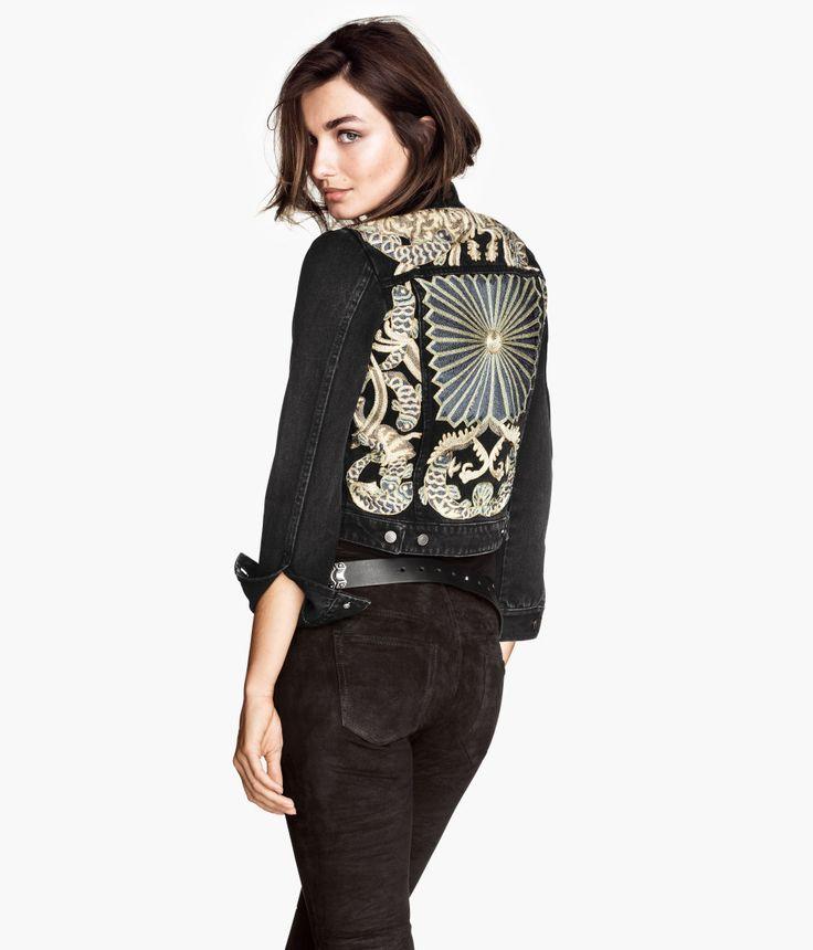 H&M embroidered black denim jacket
