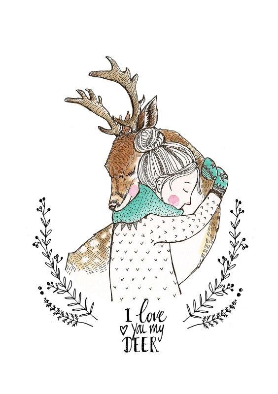 Marieke ten Berge 'Kaart Love You My Deer'
