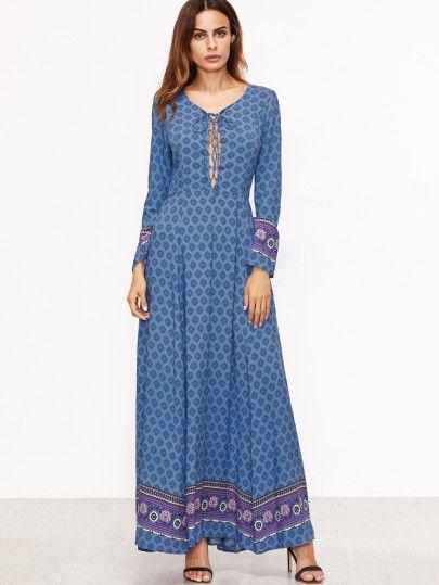 Maxi Kleid Schnüren Tribal Druck-blau