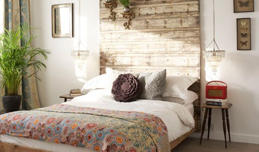 rustic headboard made from reclaimed wood.