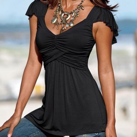 Las mujeres volante de la manga con volantes cuello en V profundo Loose Fit Casual superior atractivo de la blusa