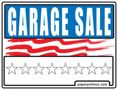 Garage Sale Signs - Free, Printable and Downloadable If you're like us, you put off making garage sale signs until the last moment. You've got cars rolling in the driveway as you read this. Click on the garage sale sign to download a printable Adobe pdf file. Enjoy.