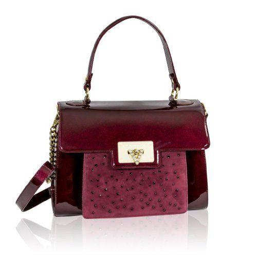 Valentino Orlandi Italian Designer Burgundy Patent Leather Purse Frame Bag
