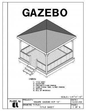 Gazebo hip roof and building plans on pinterest for Gazebo floor plans