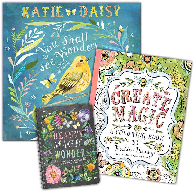 We Re Having A Katie Daisy Celebration On Our Website Enjoy 25 Off On The Wall Calendar Planner And Coloring Book Coloring Books Dreamy Artwork Daisy