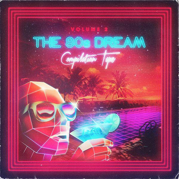 The 80s Dream dissenyat per Overglow. Exemple del disseny gràfic on predomina el neó, colors brillants i metàl.lics, i les tonalitats blaves i rosses.