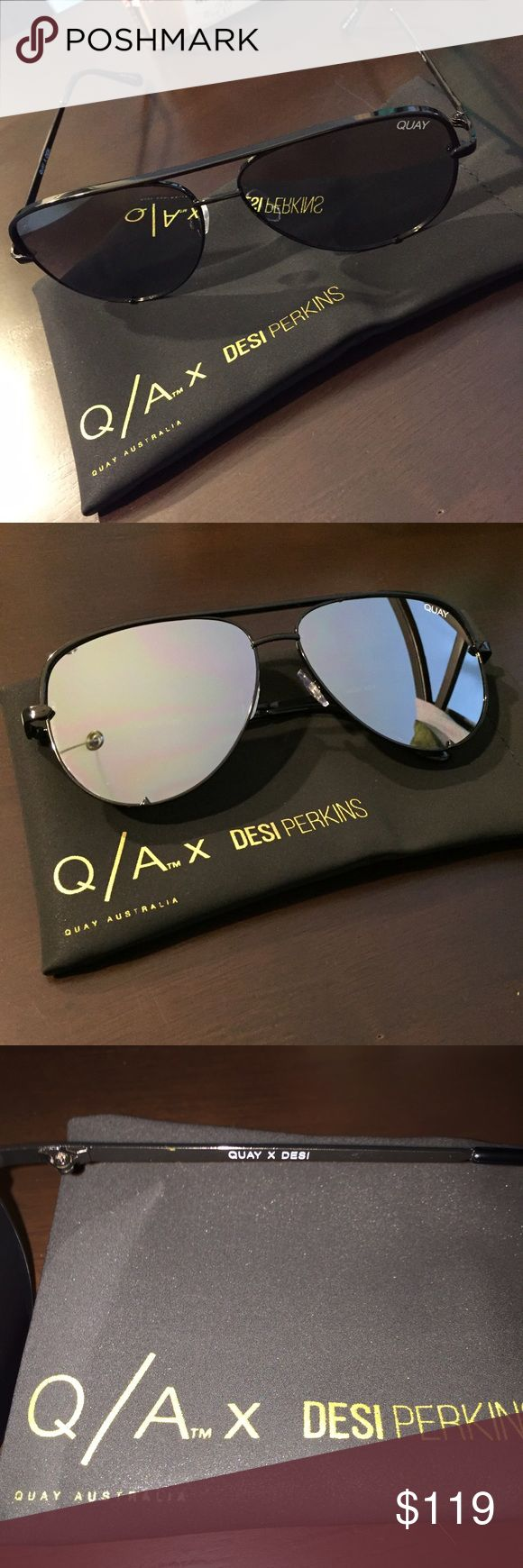 Quay x Desi High Key Black Sunglasses Brand new, never worn Quay Australia x Desi Perkins sunglasses. The shade is High Key Black and they are a mirror flat lens. Gorgeous sunglasses but unfortunately I ordered two of the same pairs! Selling to make my money back. I will ship these NEXT DAY in the original packaging that they came in. Quay Australia Accessories Sunglasses
