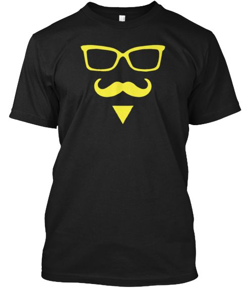 Printed Glasses Beard Hipster  Shirt Black T-Shirt Front