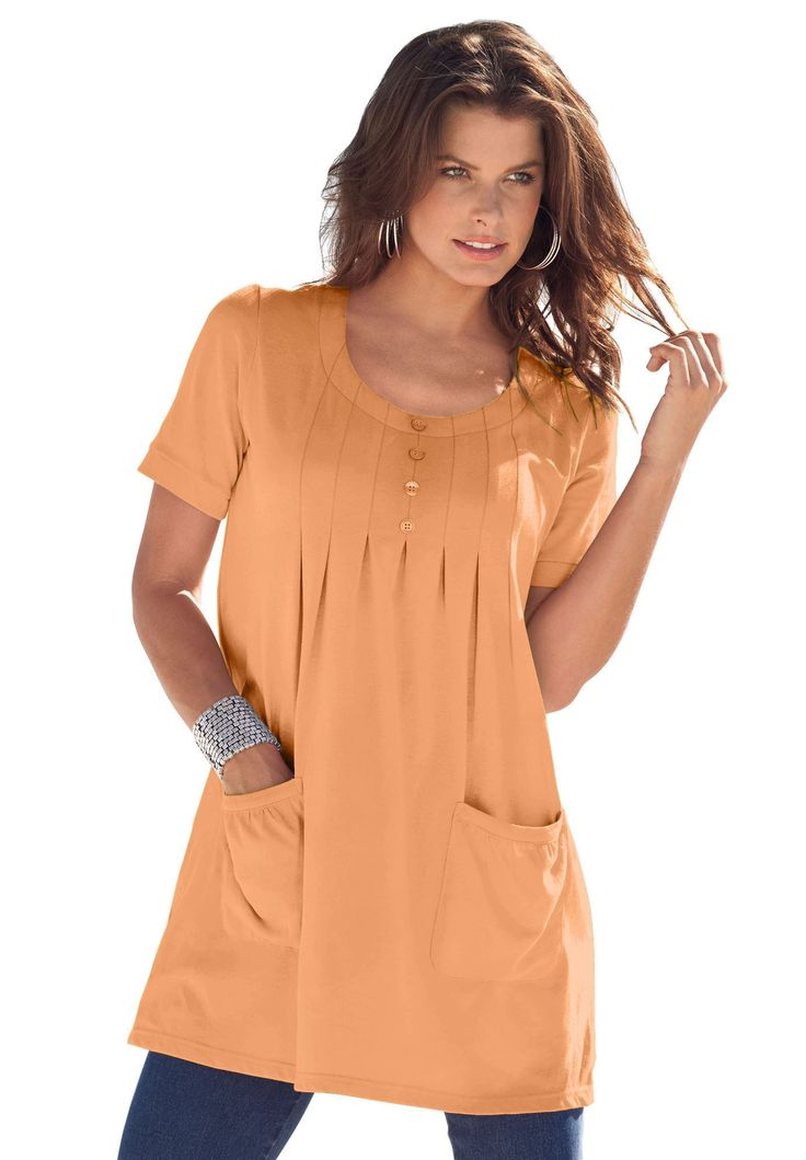 Trapeze Tunic with 2 Pockets | Plus Size Clearance | Roamans