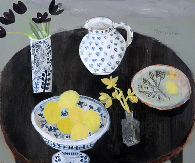 Dark Tulips, Dark Table and Lemon Bowl Elaine Pamphilon    By Elaine Pamphilon