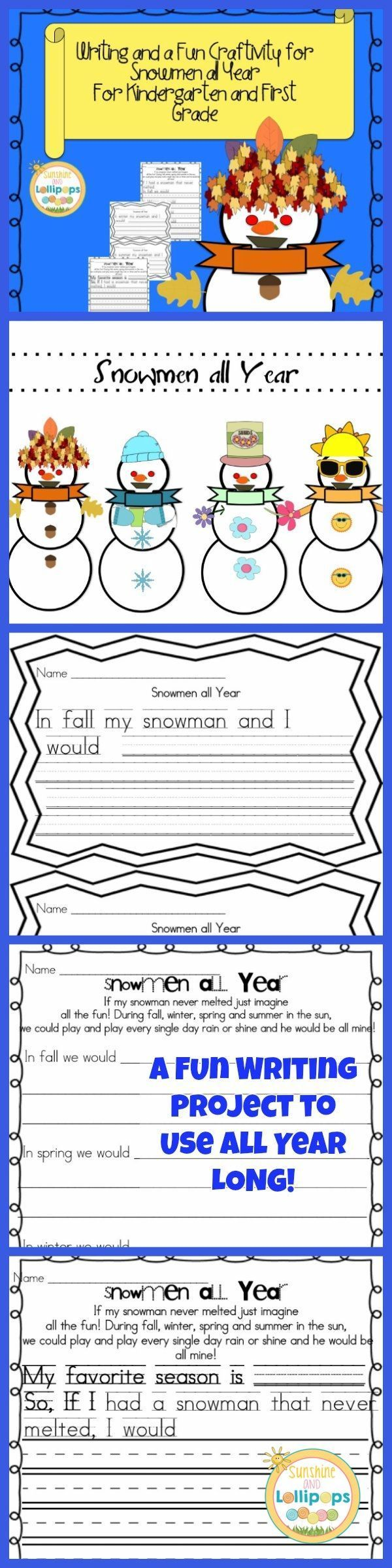 Snowmen all year writing a letter