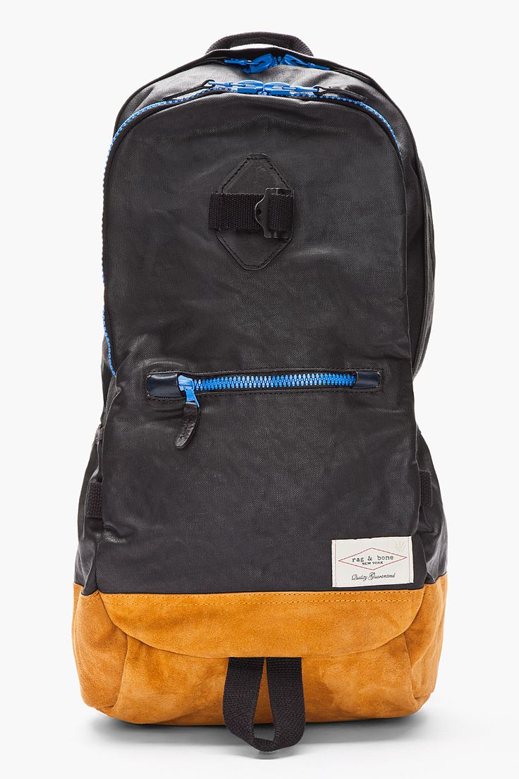 RAG & BONE Black and blue coated Backpack