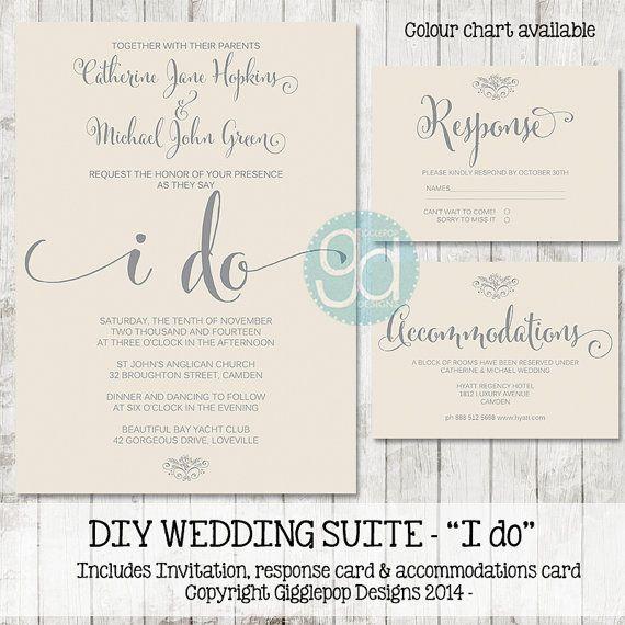 Printable Wedding Invitation Suite  Digital by GigglepopDesigns