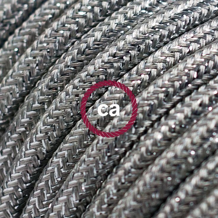 Cavo Elettrico rotondo rivestito in tessuto effetto Seta Tinta Unita Glitterato Argento RL02