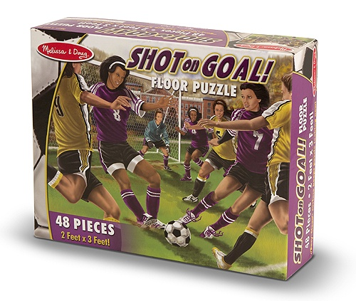 Shot on Goal 48 Piece Sports Floor Puzzle featuring Soccer