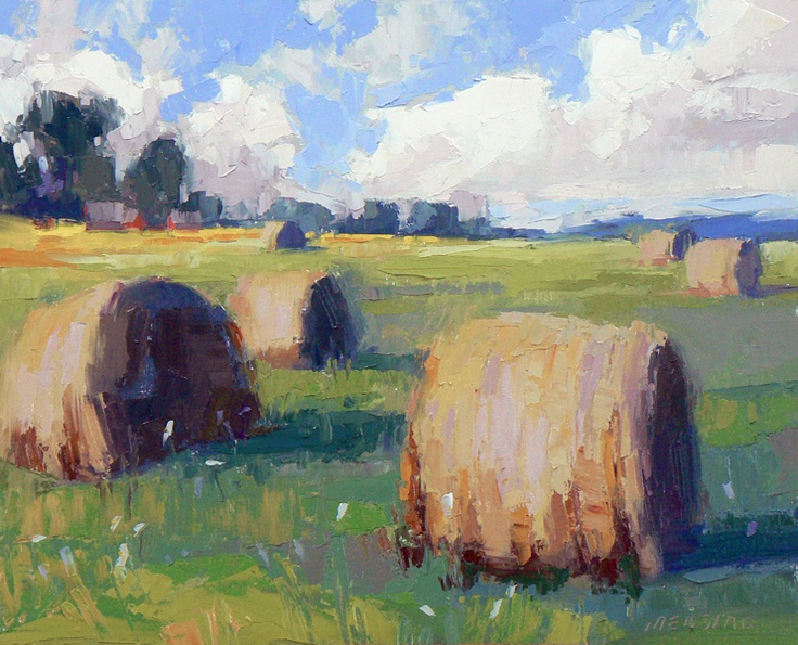 Will Be Discovered by David Mensing, Hay Bales in Idaho  http://www.facebook.com/HeidiHaislmaierFineArt #art #landscapes #oil #painting