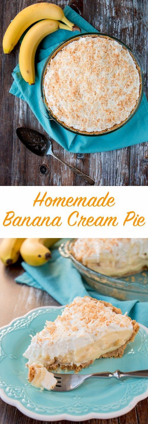 This amazing banana cream pie is made with a rich velvety-smooth homemade custard and it's lined with a honey graham cracker crust. Filled with delicious sweet slices of bananas and topped with fluffy whipped cream - it's absolutely pie heaven!