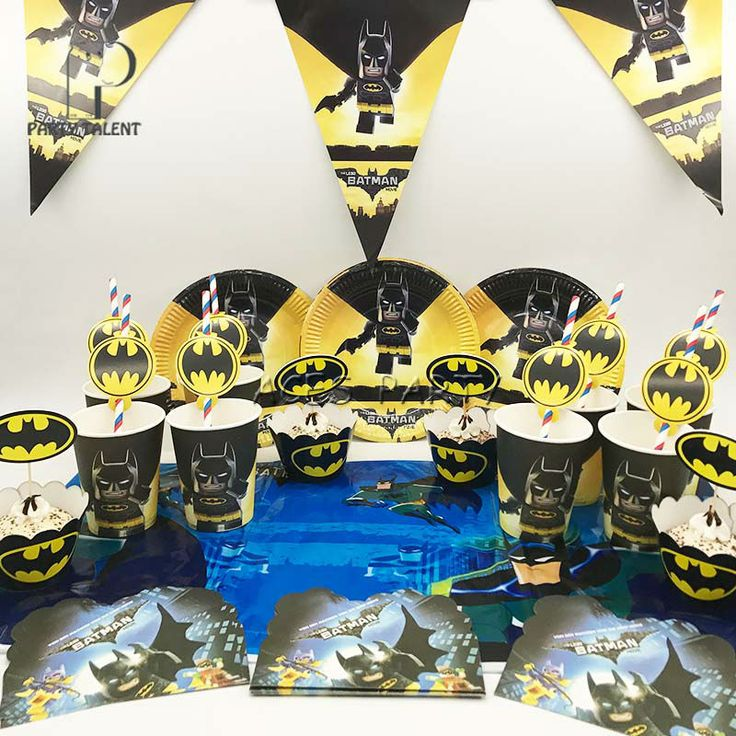 Party supplies 50pcs for 8kids Lego Batman birthday party tableware set, plate+cup+straw+tablecover+banner+wrapper+invitation //Price: $27.96 & FREE Shipping //     #partysupplies