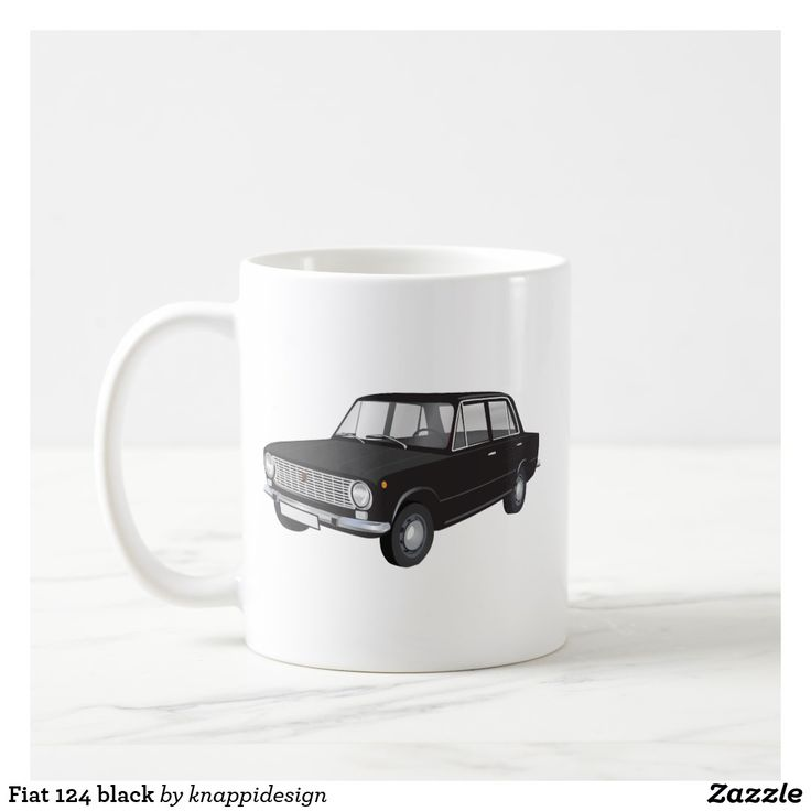 Fiat 124 black, two images per coffee mug. Check out other color options and customize mug like you wish.  #fiat124 #fiat #classiccars #60s #70s #italian #italia #italy #car #automobile #auto #machina #coffee mug #caffe #cafe #kaffemugg #mukit #carillustration #blackcar
