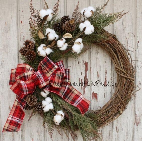 The Cotton Christmas Grapevine Wreath, Christmas Wreath, Front Door Wreath, Country Christmas Wreath, Rustic Christmas Wreath