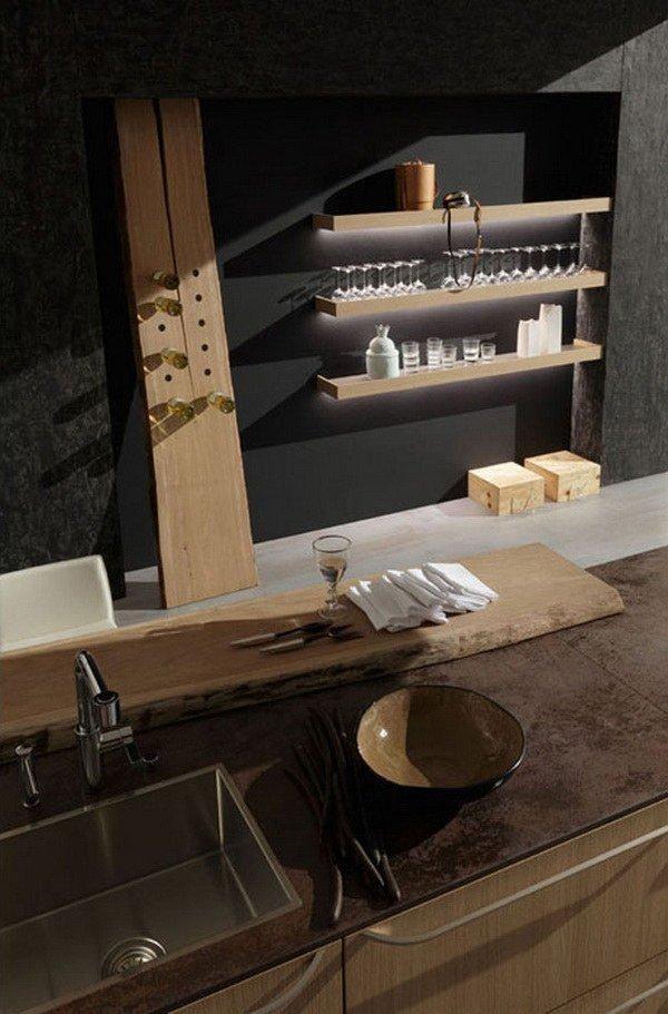 Minimalist kitchen in light wood, workspace